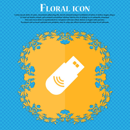 pendrive: usb Icon sign. Floral flat design on a blue abstract background with place for your text. Vector illustration