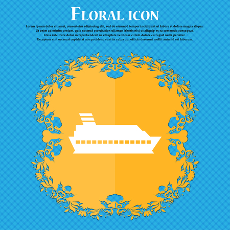 sea tanker ship: Cruise sea ship icon sign. Floral flat design on a blue abstract background with place for your text. Vector illustration
