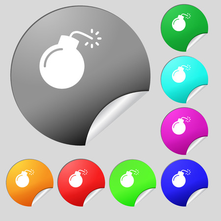 bombshell: bomb icon sign. Set of eight multi colored round buttons, stickers. Vector illustration
