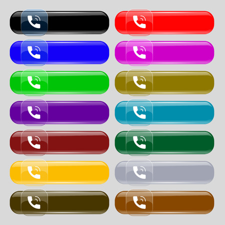 hotline: Phone icon sign. Set from fourteen multi-colored glass buttons with place for text. Vector illustration