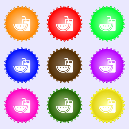 Energy drink, watermelon slice icon sign. Big set of colorful, diverse, high-quality buttons. Vector illustration