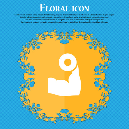 hand with dumbbell: Arm muscle with dumbbell in hand icon sign. Floral flat design on a blue abstract background with place for your text. Vector illustration Illustration