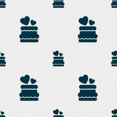 pixel perfect: wedding cake icon sign. Seamless pattern with geometric texture. Vector illustration Illustration