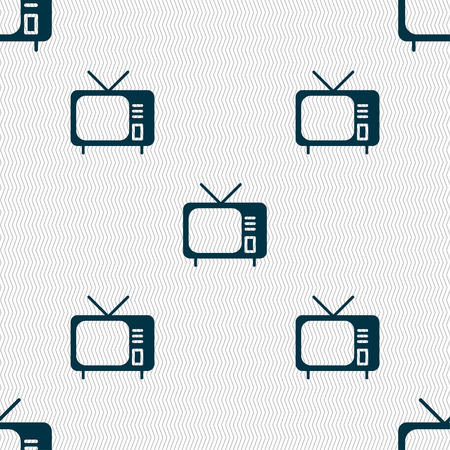 tv icon sign. Seamless pattern with geometric texture. Vector illustration