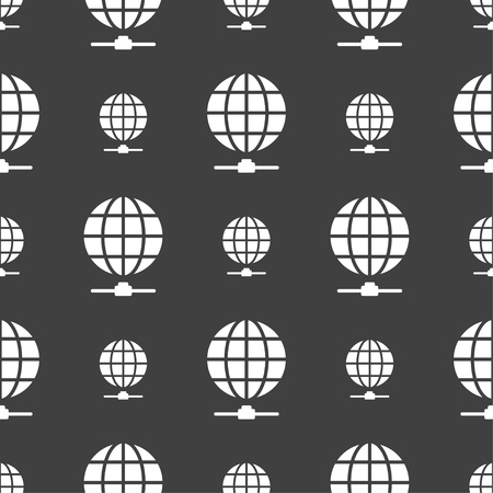 website wide window world write www: Website Icon sign. Seamless pattern on a gray background. Vector illustration