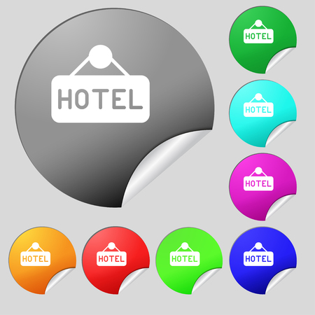 apartment bell: hotel icon sign. Set of eight multi colored round buttons, stickers. Vector illustration