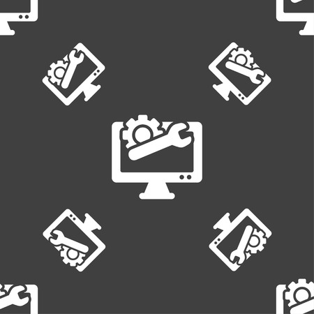 computer repair: repair computer icon sign. Seamless pattern on a gray background. Vector illustration