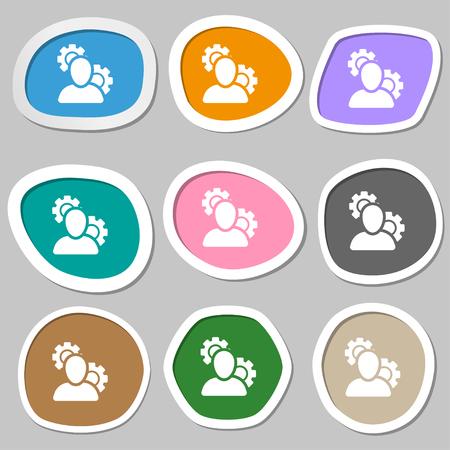 configuration: Profile Setting Icon symbols. Multicolored paper stickers. Vector illustration