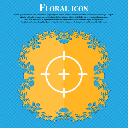 sniper: sight icon sign. Floral flat design on a blue abstract background with place for your text. Vector illustration