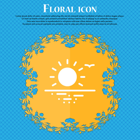 sunset icon sign. Floral flat design on a blue abstract background with place for your text. Vector illustration Illustration