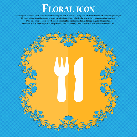 crossed fork over knife icon sign. Floral flat design on a blue abstract background with place for your text. Vector illustration