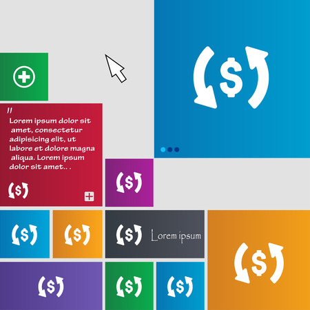 bribe: Exchange icon sign. buttons. Modern interface website buttons with cursor pointer. Vector illustration Illustration