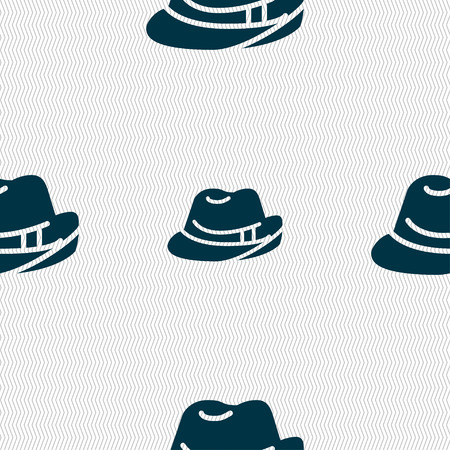 master chef: hat icon sign. Seamless pattern with geometric texture. Vector illustration