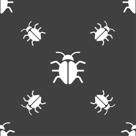 disinfection: Bug, Virus icon sign. Seamless pattern on a gray background. Vector illustration Illustration