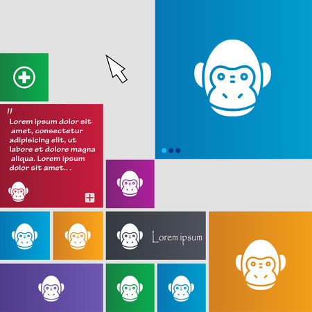 abstract gorilla: Monkey icon sign. buttons. Modern interface website buttons with cursor pointer. Vector illustration