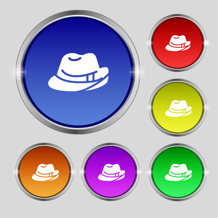 master chef: hat icon sign. Round symbol on bright colourful buttons. Vector illustration