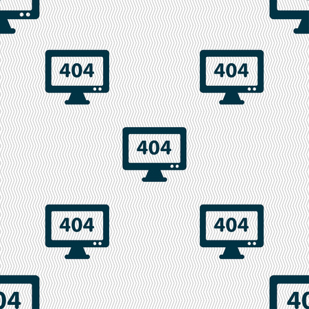 blunder: 404 not found error icon sign. Seamless pattern with geometric texture. Vector illustration