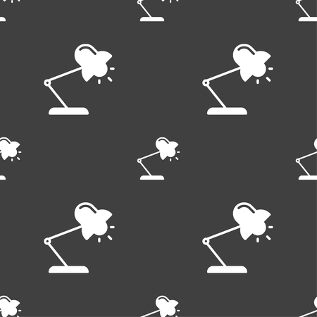 lamplight: Table lamp icon sign. Seamless pattern on a gray background. Vector illustration