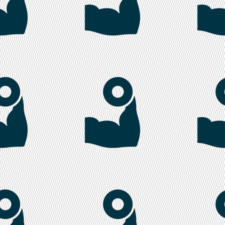 hand with dumbbell: Arm muscle with dumbbell in hand icon sign. Seamless pattern with geometric texture. Vector illustration Illustration