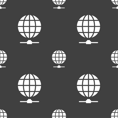 webhosting: Website Icon sign. Seamless pattern on a gray background. Vector illustration