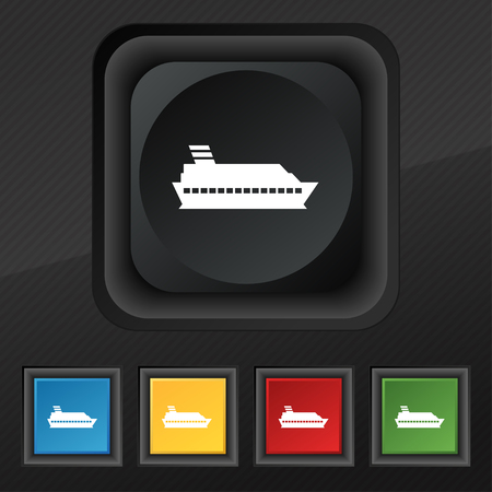 to pierce: Cruise sea ship icon symbol. Set of five colorful, stylish buttons on black texture for your design. Vector illustration Illustration