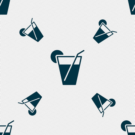 cocktail icon sign. Seamless pattern with geometric texture. Vector illustration Illustration