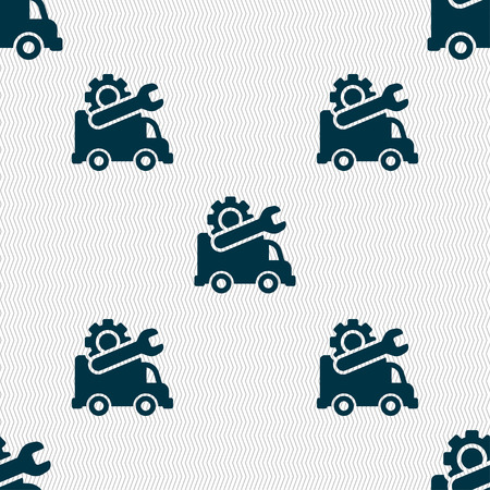 laptop repair: Computer repairs icon sign. Seamless pattern with geometric texture. Vector illustration Illustration