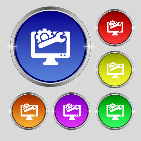 computer repair: repair computer icon sign. Round symbol on bright colourful buttons. Vector illustration