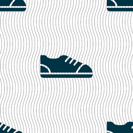 foot gear: shoe icon sign. Seamless pattern with geometric texture. Vector illustration