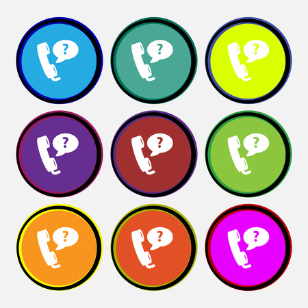 telemarketer: Telemarketing icon sign. Nine multi colored round buttons. Vector illustration