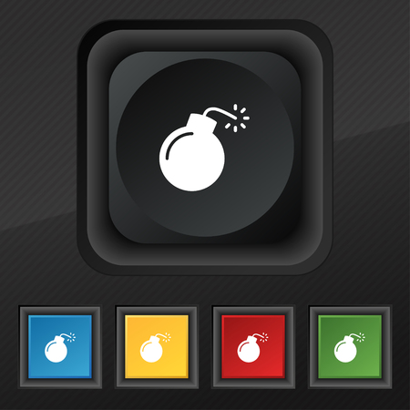 bomb icon symbol. Set of five colorful, stylish buttons on black texture for your design. Vector illustration
