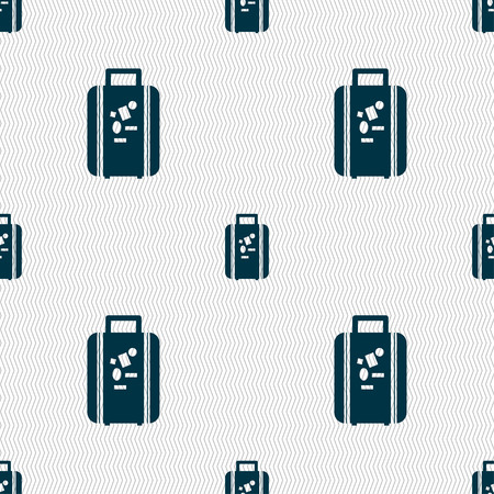 portmanteau: travel luggage suitcase icon sign. Seamless pattern with geometric texture. Vector illustration
