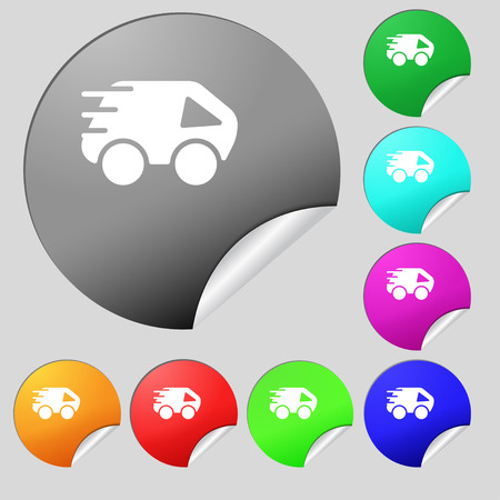 Car Icon sign. Set of eight multi colored round buttons, stickers. Vector illustration
