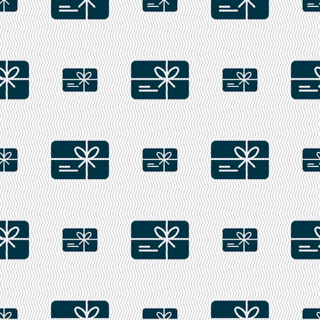 school bills: certificate icon sign. Seamless pattern with geometric texture. Vector illustration Illustration