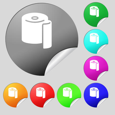 defecation: toilet paper icon sign. Set of eight multi colored round buttons, stickers. Vector illustration Illustration