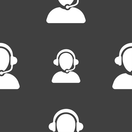 telemarketer: Customer support icon sign. Seamless pattern on a gray background. Vector illustration Illustration