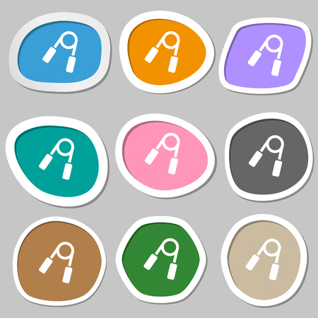 forearm: Hand grip trainer icon symbols. Multicolored paper stickers. Vector illustration