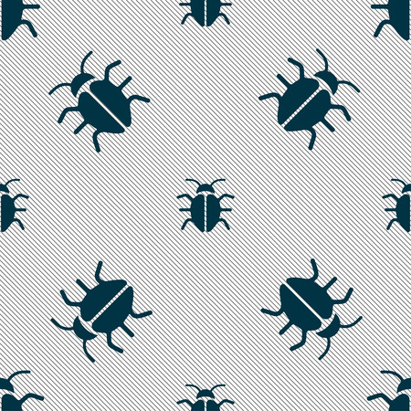 disinfection: Bug, Virus icon sign. Seamless pattern with geometric texture. Vector illustration