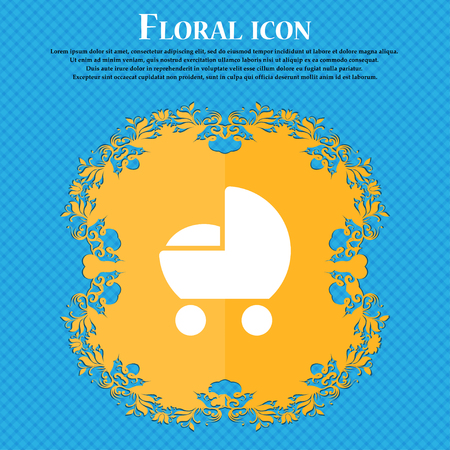 baby pram icon sign. Floral flat design on a blue abstract background with place for your text. Vector illustration