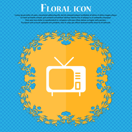 hd: tv icon sign. Floral flat design on a blue abstract background with place for your text. Vector illustration