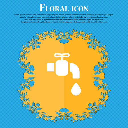 spare: faucet icon sign. Floral flat design on a blue abstract background with place for your text. Vector illustration
