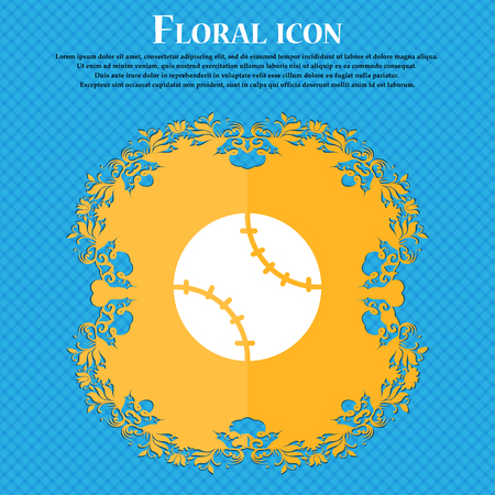 Tennis ball icon sign. Floral flat design on a blue abstract background with place for your text. Vector illustration Illustration