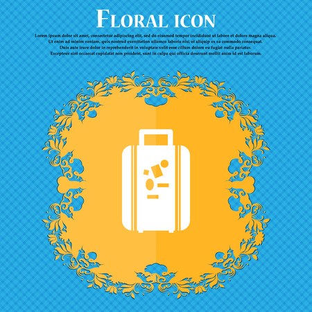 travel luggage suitcase icon sign. Floral flat design on a blue abstract background with place for your text. Vector illustration