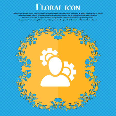 Profile Setting Icon sign. Floral flat design on a blue abstract background with place for your text. Vector illustration