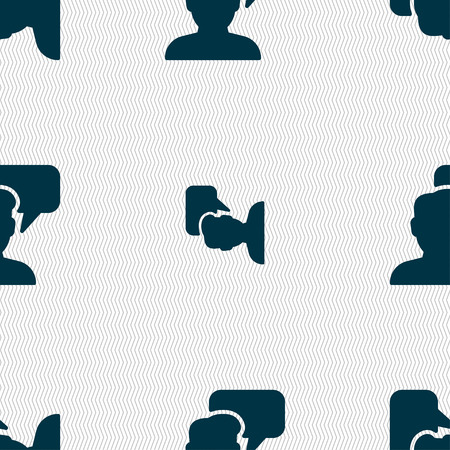speech buble: People talking icon sign. Seamless pattern with geometric texture. Vector illustration