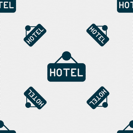 apartment bell: hotel icon sign. Seamless pattern with geometric texture. Vector illustration