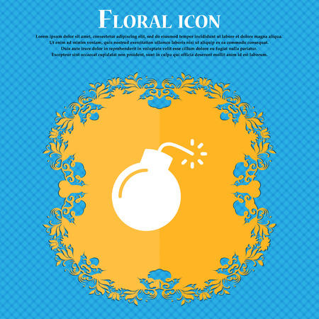 bomb icon sign. Floral flat design on a blue abstract background with place for your text. Vector illustration Illustration