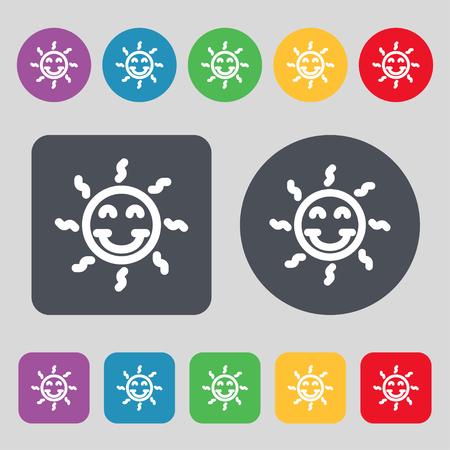gelukkige zon teken pictogram. Een reeks van 12 gekleurde knoppen. Plat ontwerp. vector illustratie Stock Illustratie