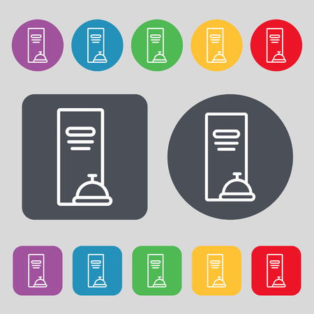 web portal: menu icon sign. A set of 12 colored buttons. Flat design. Vector illustration
