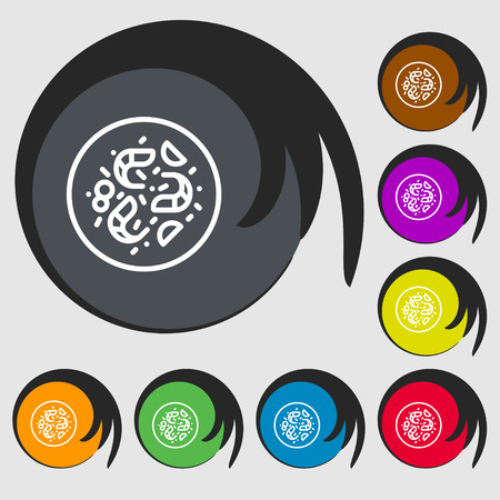 contaminant: bacteria icon sign. Symbols on eight colored buttons. Vector illustration Illustration